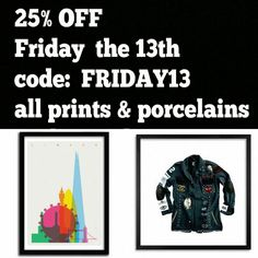 25% off this week end with code FRIDAY13 !!! Go tout www.artandtoys.com #shop #art #print & #porcelaine #sculpture #edition