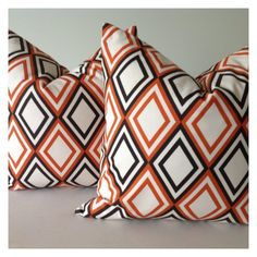Decorative Pillow Cover  one 20x20  in Orange w/ Brown  Other sizes available.