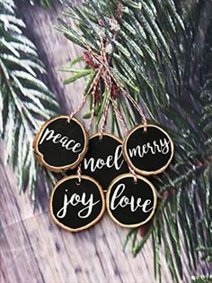DIY Farmhouse Christmas Ornaments - 11 Rustic Ornaments You'll Want In Your Home, DIY and Crafts, Christmas Wood Slice Ornament Set - 11 DIY Farmhouse Style Christmas Ornaments That Are Simple To Make That Will Bring The Perfect Rustic Look To Your. Rustic Christmas Ornaments, Wood Ornaments, Christmas Wood, Simple Christmas, Christmas Crafts, Christmas Movies, Christmas Swags, Country Christmas, Christmas Christmas