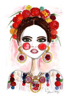 Frida Kahlo Frida Art Fashion illustration by diarysketches