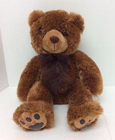 "11"" People Pals Teddy Bear Plush Brown Bow Stuffed Beanbag Animal"