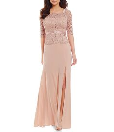 R&M Richards Off-the-Shoulder 3/4 Illusion Sleeve Lace Gown