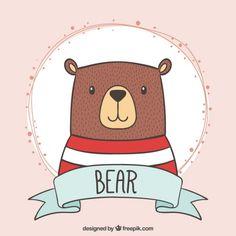 Desenho adorável urso com uma t-shirt listrada Vetor grátis
