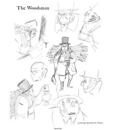 ncrossanimation: Here's my initial rough character sketches of the Woodsman