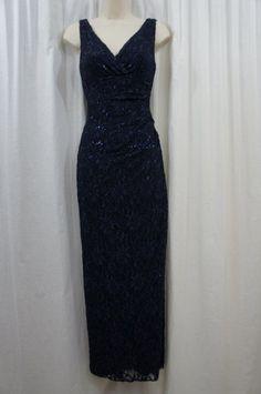 Ralph Lauren Dress Sz 2 Navy Blue Sequin Sleeveless Evening Cocktail Dress #ralphlauren #gown #Formal
