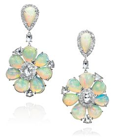 Cellini Jewelers flower opal drop earrings and rose cut diamonds! Gorgeous pair designed by sutra