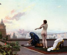 Jean-Léon Gérôme's depiction of Bathsheba bathing as viewed from David's perspective. Although David had got up at night when he saw her, this is portrayed as if in daytime.