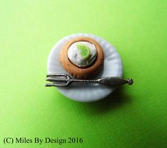 Key Lime Pie Miniature Dessert Plate for Dolls House - A moment on the lips a lifetime on the hips. At least that is one thing that your dolls do not need to worry about as they tuck into this decadent treat - Only £5.95 Free P&P - #Keylimepie #Food #Dollshouse #Dollhouse #Miniature #Polymerclay #mini #Folksy -www.milesbydesign.co.uk