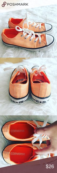 Neon orange all star converse Perfect color for spring and summer. Bright fun orange color. Some mild wear but in great condition overall. Size 6. Converse Shoes Athletic Shoes