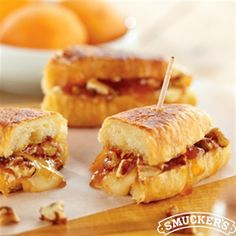 Melted Brie and Apricot Petite Croissants from Smucker's are the perfect sandwich for brunch! Small croissants filled with brie cheese, apricot preserves and glazed pecans heated in a skillet make one ooey-gooey delicious treat!