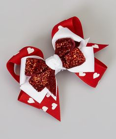 Take a look at this Red & White Heart Triple-Layer Bow Clip on zulily today!