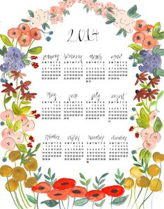 2014 Wall Calendar Floral Wreath Illustration by Shannon Kirsten