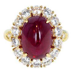 Van Cleef & Arpels Cabochon Ruby & Diamond Ring