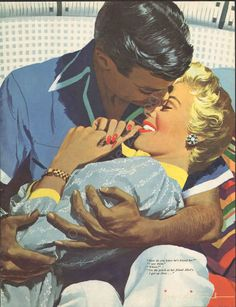 1954 Magazine Print JON WHITCOMB Couple Kissing Vintage Magazine Print by Artist #Vintage
