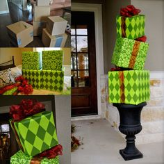 Outdoor Christmas Presents, Christmas Topiary, Grinch Christmas Party, Decoration Christmas, Christmas Porch, Office Christmas, Christmas Themes, Christmas Lights, Grinch Christmas Decorations Outdoor