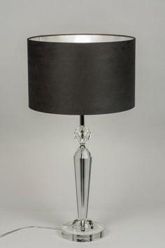 """artikel 10172 Chique en elegant! Deze grote tafellamp heeft een voet van """"kristal"""" glas.  https://www.rietveldlicht.nl/artikel/tafellamp-10172-modern-kristal-stof-grijs-zilver(grijs)-zwart-rond"""
