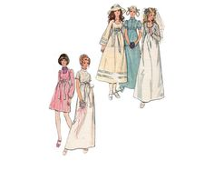 Classic Empire waist wedding dresses and bridesmaid dresses with sleeve variations - 1970's Complete Original Butterick pattern #6000