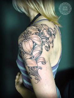 flower quarter sleeve tattoo