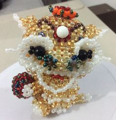 Golden lion dragon, made of Japanese seed bead MGB, 8 cm 60 gr