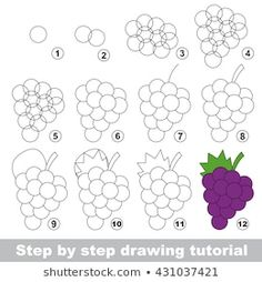 Drawing tutorial for children. Simple level of difficulty. Kid education and gaming. Indoor games for children. How to draw Ripe Grapes. Easy Fruit Drawing, Grape Drawing, Fruits Drawing, Basic Drawing, Drawing Videos For Kids, Easy Drawings For Beginners, Easy Drawings For Kids, Drawing Lessons, Art For Kids