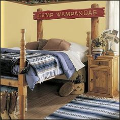 would make a cute boys room or guest room.....  /Welcome+to+camp+personalized+mural-camping+theme+decorating+ideas-hunting+theme-rustic+lodge+cabin+style+decorating.jpg