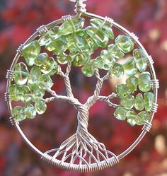 Tree of Life Pendant - Spring - Peridot