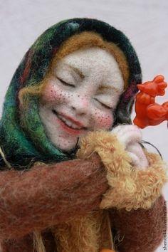 Дуняша - бежевый,кукла интерьерная,Сухое валяние,Мокрое валяние,россия