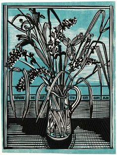 Cat Mint & Irises Linocut by Richard Bawden Linocut Prints, Art Prints, Art Deco Coffee Table, Leaf Images, Mc Escher, Blue Cats, Art Forms, Clematis, Flower Art