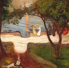 Dance on the Beach - Edvard Munch hand-painted oil painting reproduction,departure scene,moonlight reflection on lake,girl figures on shore Edvard Munch, Fiordo De Oslo, La Madone, Oil Painting Reproductions, Famous Artists, Oeuvre D'art, Painting Inspiration, Oil On Canvas, Illustration Art