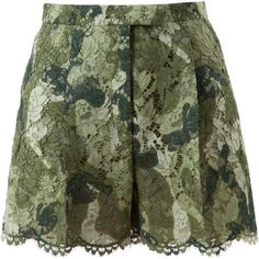 VALENTINO Camouflage Patterned Lace Shorts ($1,440) ❤ liked on Polyvore