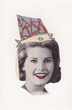 Fishy Lady  Original Mixed Media Collage by kellygormanartwork, $10.00