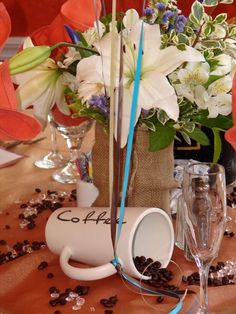 Love is brewing, for the coffee lover, themed shower. Ground coffee favors etc.