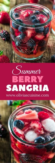 Summer Berry Sangria   http://www.oliviascuisine.com   A delicious summer sangria made with Moscato, strawberries, raspberries, blackberries and blueberries! #MiddleSister #DropsofWisdom #Sp