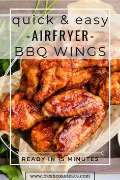 Air Fryer Recipes Chicken Wings, Honey Bbq Chicken Wings, Chicken Wing Recipes, Meat Recipes, Baking Recipes, Recipies, Air Frier Recipes, Air Fryer Dinner Recipes, Leaves