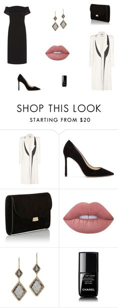 """Untitled #7958"" by mie-miemie ❤ liked on Polyvore featuring HUGO, Alexander McQueen, Jimmy Choo, Mansur Gavriel, Lime Crime, Dana Kellin and Chanel"