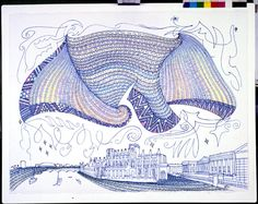 Full: Front Drawing of a Maori cloak flying over the Museum of Mankind, the British Museum and the River Thames, there are several boats in the river. Te Hono ki Ranana, The Connection with London, Pigment ink © The Trustees of the British Museum New Zealand Tattoo, Maori Designs, Maori Art, Pattern Art, Art Patterns, Diy Arts And Crafts, Eclectic Decor, Pigment Ink, British Museum