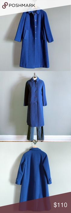 """vintage 70's long wool coat in electric blue DETAILS 100% pure wool shell matching blue satin lining 2 front slip pockets button down front  FIT best fits women's size S-M 44"""" long 16"""" shoulder  38"""" bust 24"""" sleeve model size: 34-26-36  CONDITION excellent Vintage Jackets & Coats Pea Coats"""