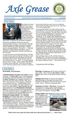 """Susie Duncan Sexton's """"Misunderstood Gargoyles and Overrated Angels"""" gets a fun mention in the Columbia City Rotary Bulletin """"Axle Grease"""" - see lower right corner (Mike Rush head butted in a darkened room...) www.susieduncansexton.com - enjoy!"""