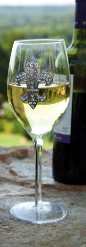 """Rhinestone Fleur de Lis,Wine Glass 16 oz,Glass,3.5x8.75 Inches by Cypress Home. Save 33 Off!. $11.99. Perfect gift for the wine enthusiast. The size is: 3.5""""x8.75"""". Packaged in attractive gift box. Hand wash only. A bold fleur-de-lis is stunning on the outside of this wine glass, adding an air of regality and poise to any moment. The rhinestones sparkle outside against the setting sun, glimmer against a candle's flame, or dazzle wherever they may be. Whether used on a special occ..."""