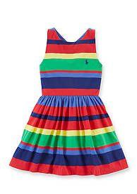 Ralph Lauren Childrenswear Sleeveless Stripe Tank Dress Girls 4-6x