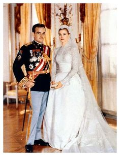 Prince Rainier of Monaco weds Grace Kelly on April, 1956.  Grace Kelly becomes Her Serene Highness the Princess of Monaco.