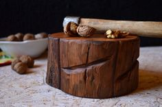 This unique wooden log could be a great addition to your kitchen. It is completely handmade and with precision to detail. To make it, we have used a piece of high quality walnut wood finished with hand rubbed linseed oil. This log is food safe - only natural materials are used - wood and linseed oil. You can use it as a stand for hot pot, for crushing nuts or as a cutting board. Size approximately: length: 6,43 in.(16.5cm.) width: 4,87 in.(12.5cm.) height: 3,12 in.(8cm.)