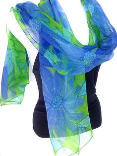 Hand Painted Silk Scarf Medium Blue Aqua Lime Green by silkshop