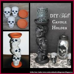 Dollar Store Crafter: DIY Halloween Skull Candle Holders - Real Time - Diet, Exercise, Fitness, Finance You for Healthy articles ideas Dollar Tree Halloween, Fröhliches Halloween, Adornos Halloween, Outdoor Halloween, Holidays Halloween, Homemade Halloween, Halloween Quotes, Easy Halloween Decorations, Halloween Home Decor