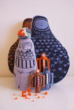 Corby Tindersticks, muñecos de fieltro y trapo http://www.minimoda.es