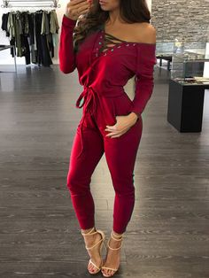 395443f93d407d Autumn One Shoulder Criss Cross Drawstring Jumpsuit Casual Jumpsuit