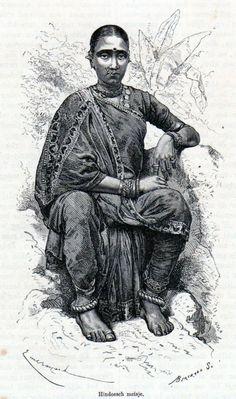 Antique print India / portrait Hindu girl / Hinduism 1871