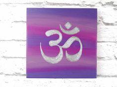 Om sign Om wall art Om painting Silver Om decor Purple