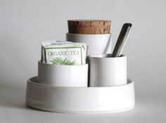 tea sugar set nesting set of cups for tea bags spoons and sugar. white porcelain modern minimalist ceramics pottery. $125.00, via Etsy.