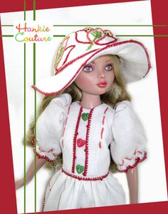 Floppy hat and heart buttons from vintage linen for Ellowyne Wilde!  Visit the Hankie Couture website today!  http://hankiecouture.com   Doll face painted by Nancy Lee Moran  #Hankiecouture #doll #Ellowyne